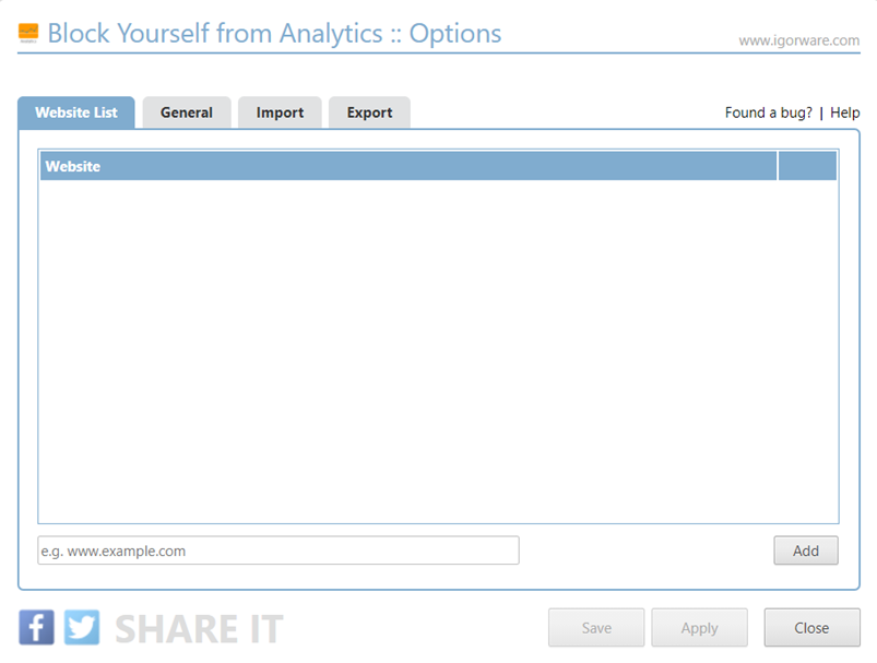 Options Block Yourself from Analytics